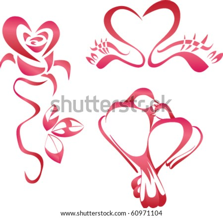 Heart inscribed in the form of roses, a pair of swans, a pair of doves. - stock vector