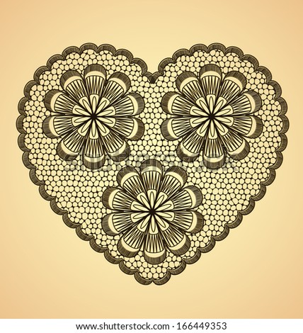 Heart lace floral pattern on light brown background
