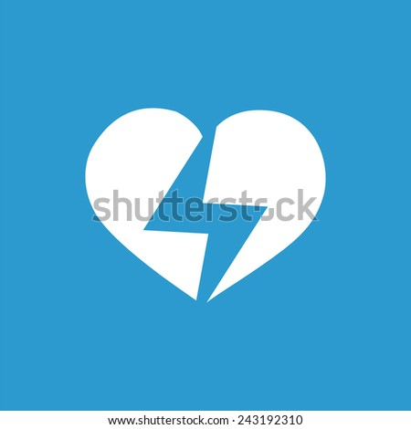 heart lightning icon, isolated, white on the blue background. Exclusive Symbols