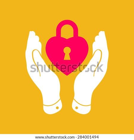 heart lock shape icon in careful hands - stock vector