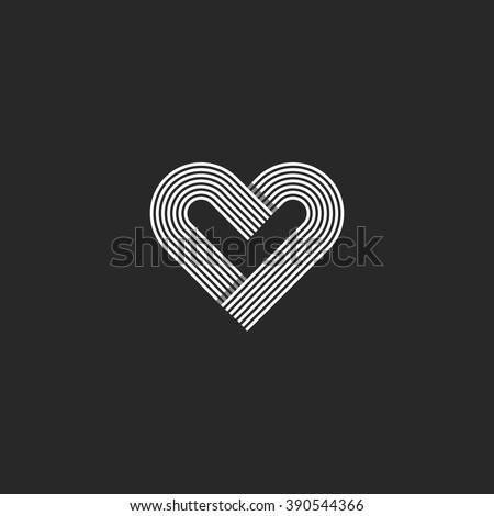 Heart Logo Monogram Wedding Invitation Decoration Stock Vector