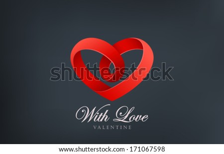 Heart looped ribbon abstract logo vector design template. Creative infinity shape icon. Love infinite symbol. Happy Valentines Day! - stock vector