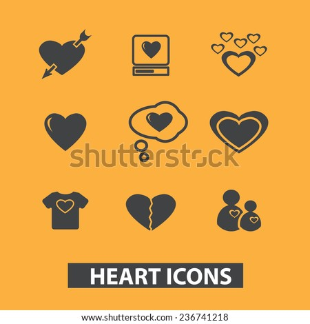 heart, love icons, signs set, vector - stock vector
