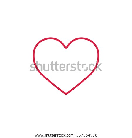 heart love romantic outline line icon red on white