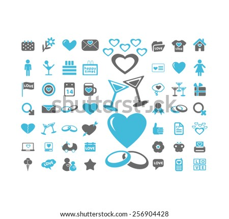 heart, love, wedding, romance, relations isolated icons, signs, illustrations concept set on background. vector - stock vector