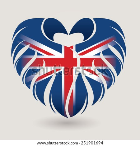 Heart made by wings with Great Britain flag in vector. - stock vector
