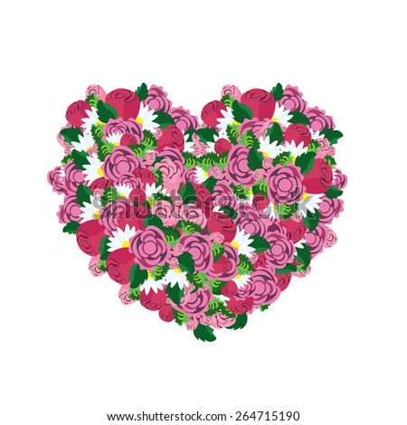Heart made from colorful pink flowers, love concept, vector - stock vector