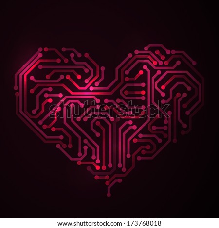 Heart made from electronic circuit - stock vector