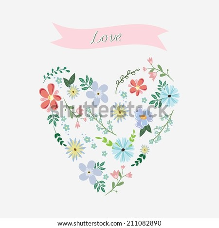 Heart made from flowers with ribbon - stock vector
