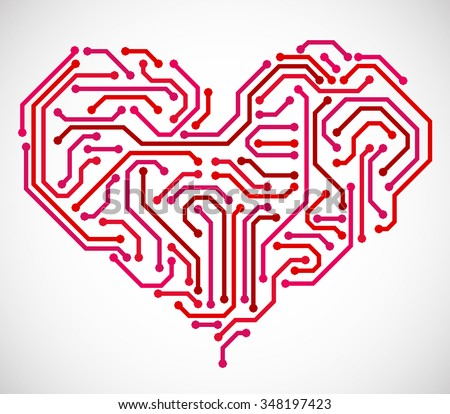 Heart made from printed circuit board