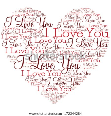 Heart made from words in vector format. - stock vector