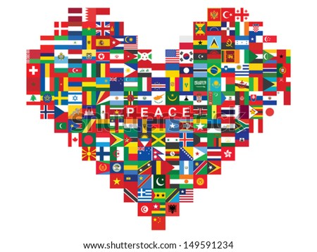 heart made of flags icons with word peace - stock vector
