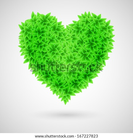 Heart made of green leaves. Ecology concept.