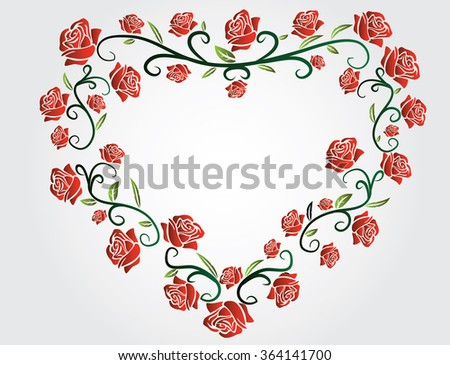 heart made of  red roses - stock vector