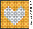 Heart Made of Squares, Pixels in the Form of Mosaics on the Colored Background. Pattern.Cards Can be Used for Valentine's Day. Love. Vector Illustration - stock vector