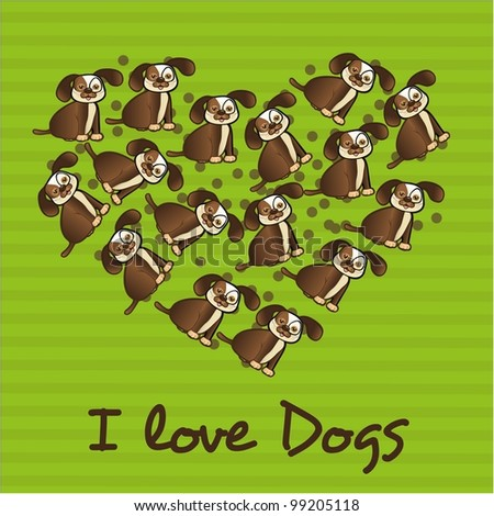 heart made with dogs, over green striped background - stock vector