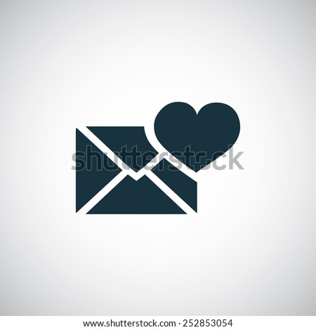 heart mail icon, on white background - stock vector