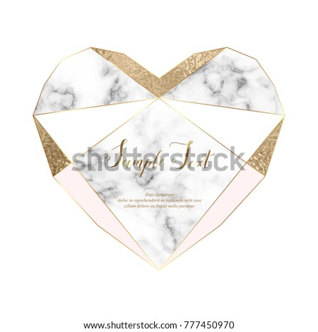 Heart marble polygonal frame. Gold glitter triangles, geometric shapes. Diamond shape. Template for design, print, poster, card, invitation, party, birthday, wedding, save the date, Valentines day.