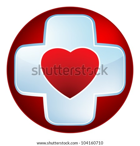 Heart medical cross. EPS 8 vector file included - stock vector