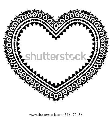 Heart mehndi design indian henna tattoo stock vector for Heart henna tattoo
