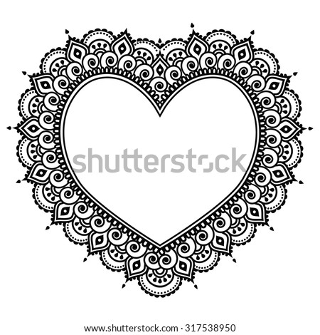 Heart Mehndi design, Indian Henna tattoo pattern - love concept - stock vector
