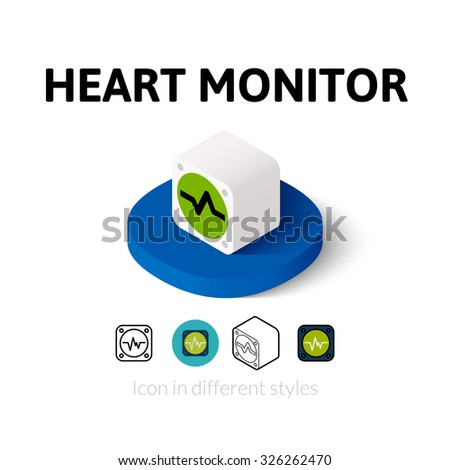 Heart monitor icon, vector symbol in flat, outline and isometric style - stock vector