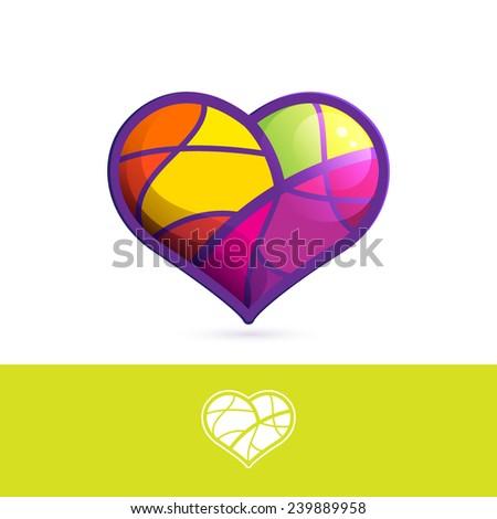 Heart mosaic logo - stock vector