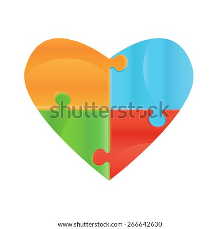 Heart object made of puzzle pieces. Isolated puzzle pieces on white background  Design elements for your logo. Puzzle presentation template field for business - stock vector