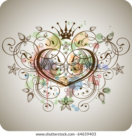 heart of a stylized calligraphic ornaments and flowers on a background of colored spray - stock vector