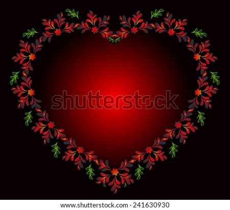 Heart of flowers for Valentine's Day. EPS10 vector illustration. - stock vector