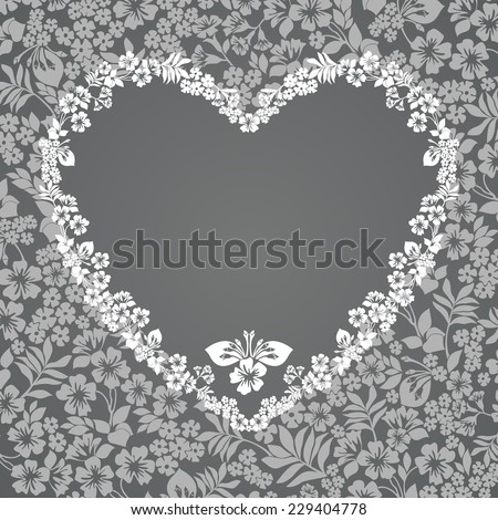 Heart of Flowers with a place for Your text. Vector illustration.  - stock vector