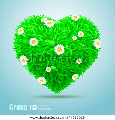 Heart of grass with flowers daisies. Vector Eps 10. - stock vector
