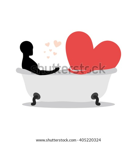 Heart of man in bath. Man and symbol of love is taking a bath. Joint bathing. Passion feelings among lovers. Romantic illustration with wash - stock vector