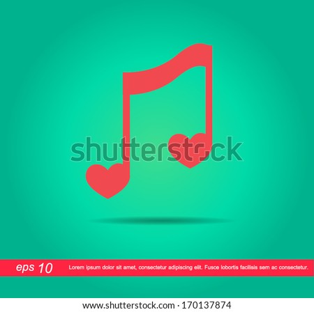 heart of music vector icon - stock vector