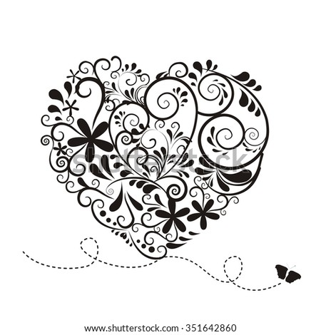 heart ornaments flowers stock vector royalty free 351642860