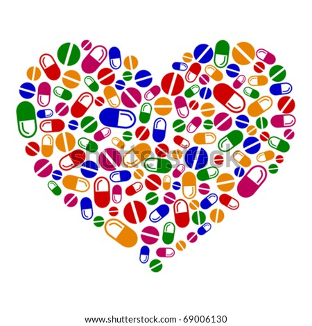 Heart of pills and capsules isolated on white background - stock vector