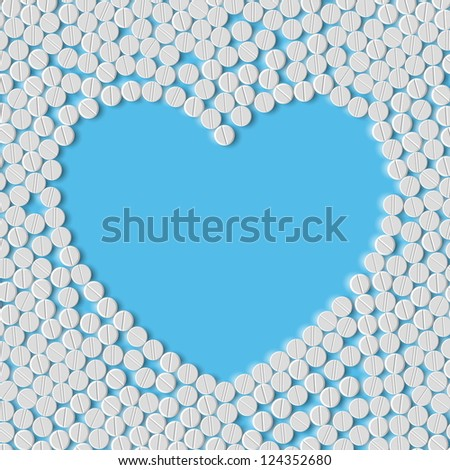 Heart of pills, eps - stock vector