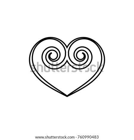 Heart Spiral Black On White Background Stock Photo (Photo, Vector ...