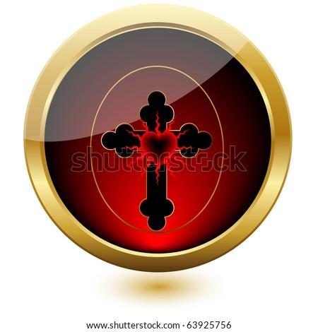 Heart of the Cross.Vector Button - stock vector
