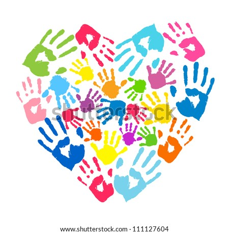 Heart of the handprints of father, mother and children - stock vector