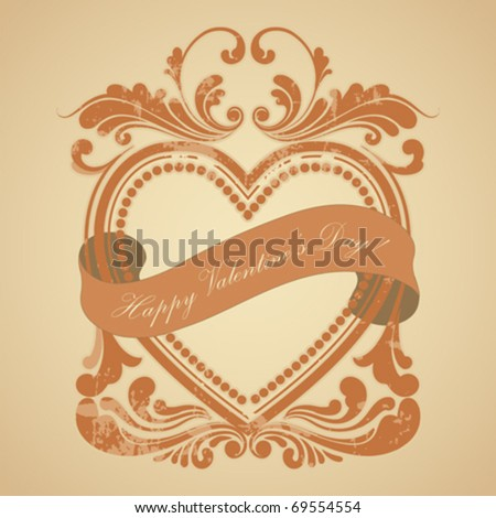 heart old frame with a ribbon, vector illustration - stock vector