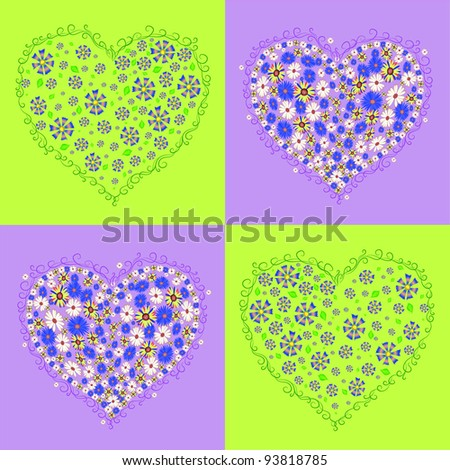 Heart on a decorative background 1 - stock vector