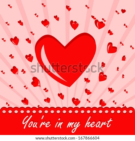 Heart on a pink background with the words You're in my heart - stock vector