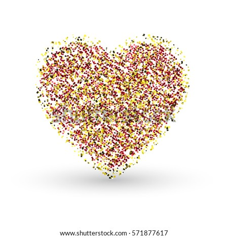 Heart on a white background.The gold glitter.