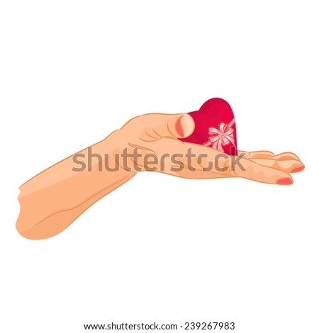 Heart on his sleeve background valentine day mothers day vector illustration