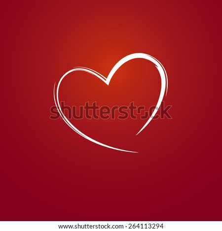 Heart on red background - stock vector