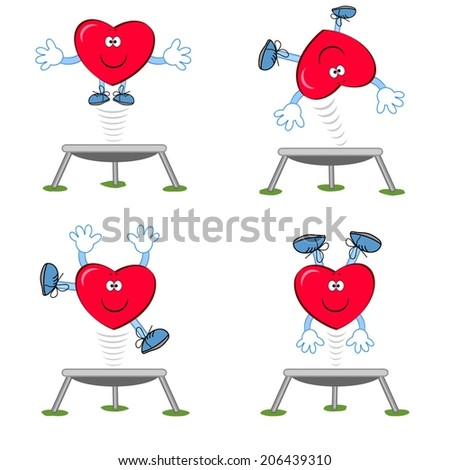 Heart on the trampoline. - stock vector