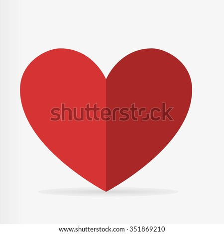 Heart on Valentine's day. Heart icon with shadow vector illustration - stock vector
