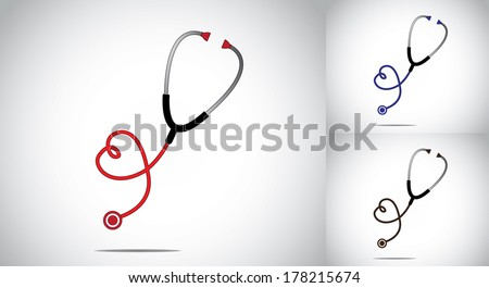 heart or love shaped stethoscope health or doctor concept design vector illustration colorful art collection set - red, blue and brown with bright white background