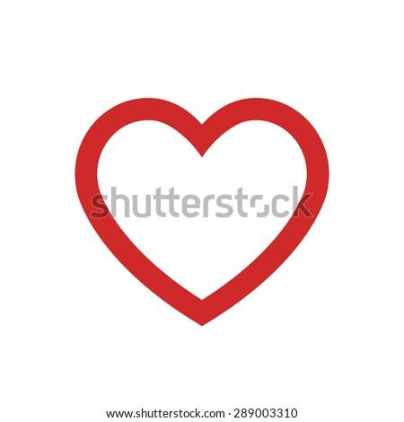Heart outline icon, modern minimal flat design style. Vector illustration, love symbol - stock vector